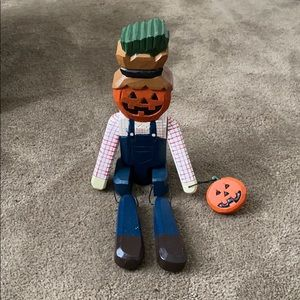Wooden pumpkin head scarecrow shelf sitter